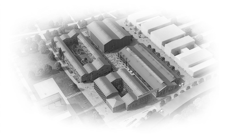 Visualisierung Quartier Cube Factory 577, neue Bahnstadt Opladen, Quartier mit Büroflächen, studentischem Wohnen, Eigentumswohnungen, Gastronomie und Sportflächen